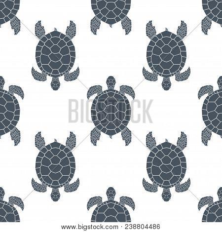 Seamless Pattern With Sea Turtles. Cheloniidae. Animal World Under Water. Vector Illustration.