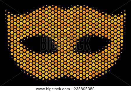 Halftone Hexagonal Privacy Mask Icon. Bright Yellow Pictogram With Honeycomb Geometric Structure On