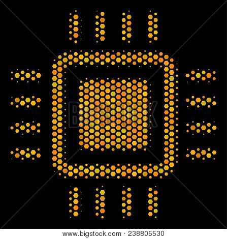 Halftone Hexagonal Processor Icon. Bright Golden Pictogram With Honey Comb Geometric Structure On A