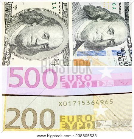 Fragments Of Hundred-dollar Banconotes And Banknotes Of Two Hundred And Five Hundred Euros Close-up