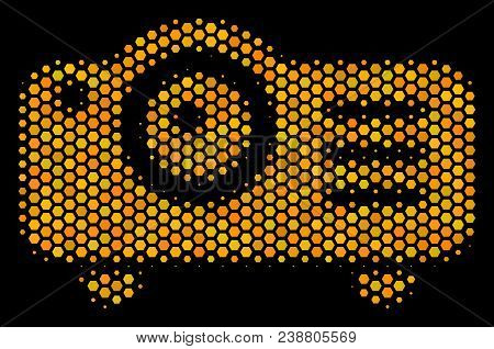 Halftone Hexagonal Projector Icon. Bright Yellow Pictogram With Honeycomb Geometric Pattern On A Bla