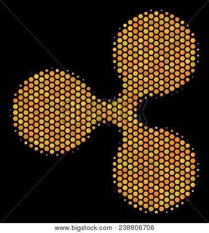 Halftone Hexagonal Ripple Currency Icon. Bright Golden Pictogram With Honeycomb Geometric Pattern On
