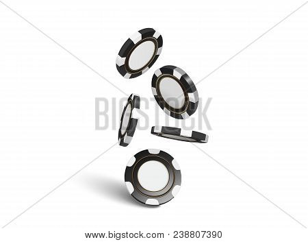 Vector Casino Chips, Isolated On White. Casino Game 3d Chips. Online Casino Banner. Black Realistic