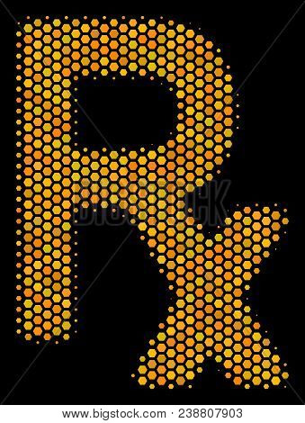 Halftone Hexagon Rx Symbol Icon. Bright Yellow Pictogram With Honey Comb Geometric Structure On A Bl