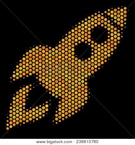 Halftone Hexagon Space Rocket Launch Icon. Bright Golden Pictogram With Honeycomb Geometric Pattern
