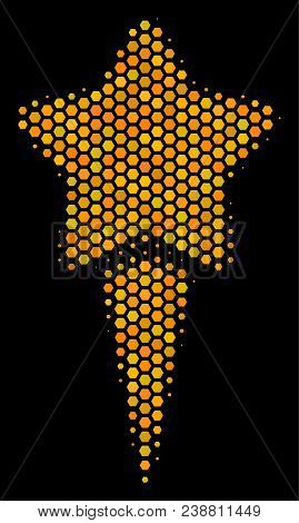 Halftone Hexagon Starting Star Icon. Bright Golden Pictogram With Honey Comb Geometric Structure On