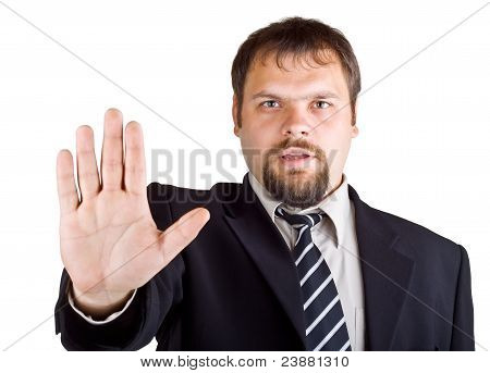 Man denies gesture isolated on white background poster