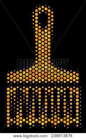Halftone Hexagon Wide Brush Icon. Bright Golden Pictogram With Honey Comb Geometric Pattern On A Bla