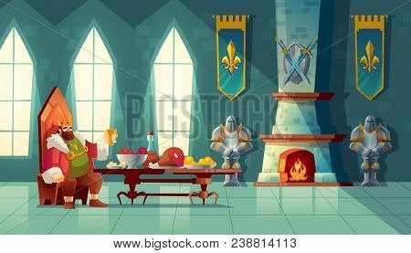 Vector castle hall with king eats lunch. Feast table with food, banquet party. Interior of royal ballroom with throne for luxury banket. Cartoon furniture in medieval palace poster