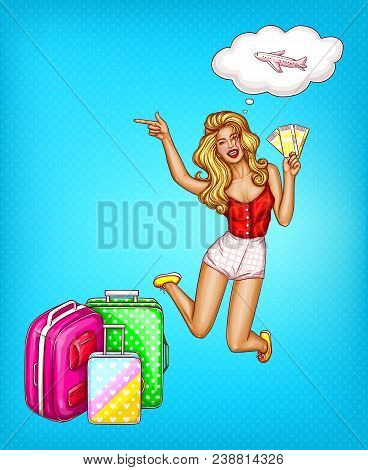 Vector Pop Art Blonde Girl Jumps With Tickets In Her Hand, Shows To Sales, Last Minute Tours, Deals.