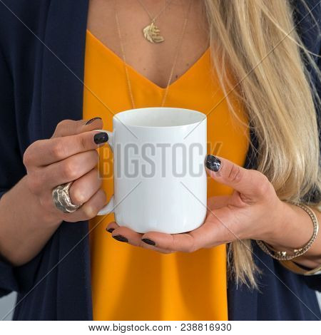 White Coffee Mug Mockup. Great For Overlaying Your Custom Quotes And Designs For Selling Mugs.