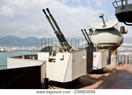 Novorossiysk, Russia- April 23, 2010: Guns on the artillery cruiser