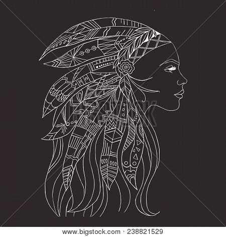 Tribal Indian Woman Tattoo And T-shirt Design. Native American Woman Tattoo Art. Ethnic Girl Warrior