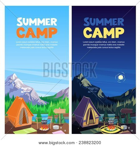 Summer Camping In Mountains Valley, Vector Banner, Poster Design Template. Adventures, Travel And Ec