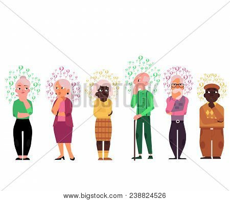 Cartoon Old People With Questions Set. Elderly Caucasian And Black Women, Men Thinking. Male Female