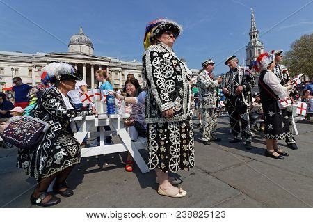 London, Great Britain, April 21, 2018 : Pearly Kings And Queens At The Feast Of St George In Trafalg