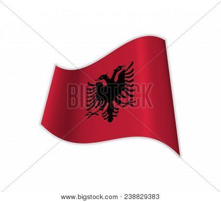The Flag Of Albania. Vector Illustration Of A Country. Balkan Peninsula.