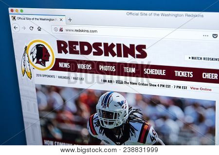London, Uk - March 5th 2018: The Homepage Of The Official Website For The Washington Redskins - The