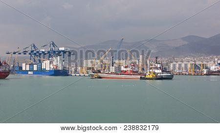 Novorossiysk, Russia- April 23, 2010: Views Of Novorossiysk Commercial Sea Port. Novorossiysk Is A L