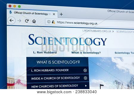 London, Uk - March 7th 2018: The Homepage Of The Official Website For The Church Of Scientology, On
