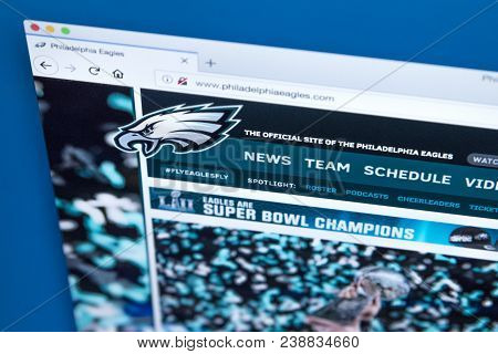 London, Uk - March 7th 2018: The Homepage Of The Official Website For The Philadelphia Eagles - The