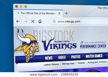 London, Uk - March 7th 2018: The Homepage Of The Official Website For The Minnesota Vikings - The Pr