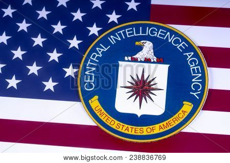 London, Uk - March 18th 2018: The Symbol Of The Central Intelligence Agency Pictured Over The Usa Fl