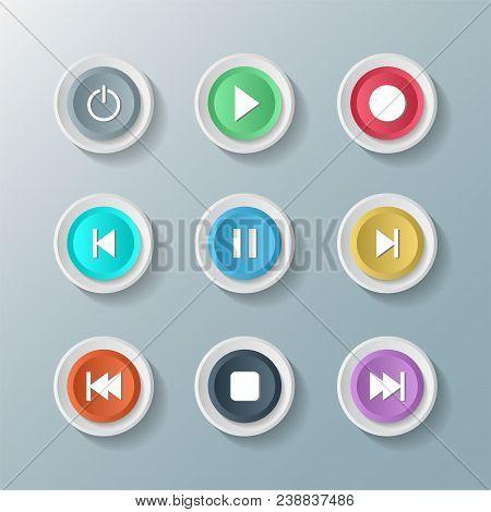 Symbol Icon Set Media Player Control White Round Buttons. Vector Illustrator
