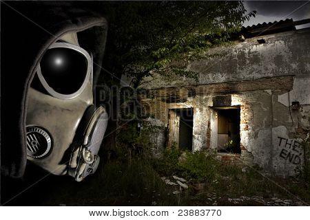 Man in gas mask. Apocalypse scene.