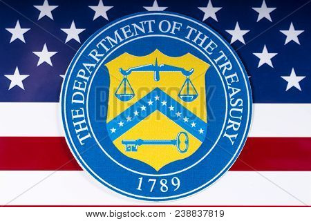 London, Uk - March 26th 2018: The Symbol Of The United States Department Of The Treasury Portrayed W