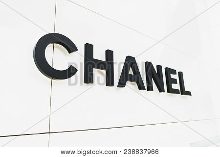 Bangkok, Thailand - Apr 26, 2018: Chanel Brand Logo In Front Of Chanel Boutique Store At Emquartier