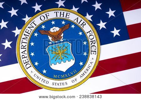 London, Uk - March 26th 2018: The Symbol Of The United States Department Of The Air Force Portrayed