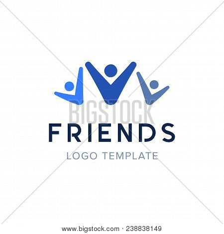 Three People Holding Hands Up Logo Design. Concept Of Group Of People, Happy Team, Victory. People C