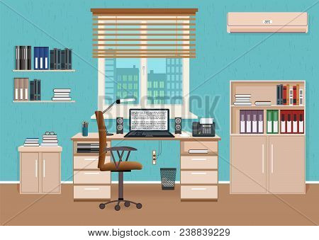 Office Room Interior With Workspace. Workplace Organization In Business Office. Working Cabinet Desi