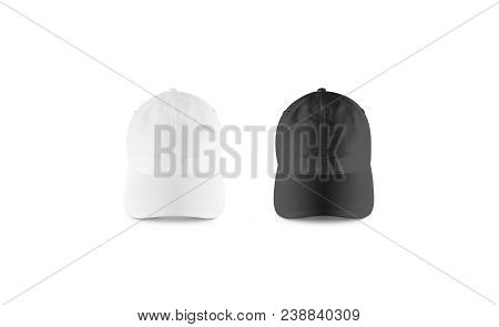 Blank Black And White Baseball Cap Mockup Set, Front View. Clear Snap Back Mock Up, Isolated. Empty