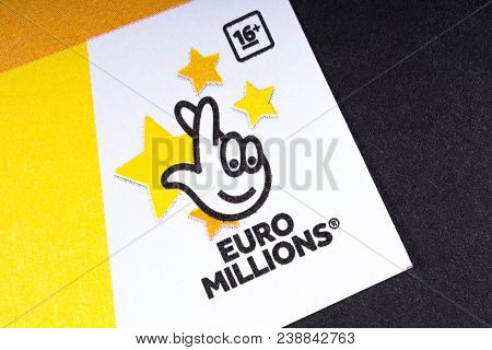 London, Uk - March 27th 2018: The Logo Of Euro Millions - The Lottery Game Operated By The Camelot G