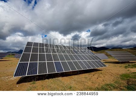 Photovoltaic panels for renewable electric production, Huesca province, Aragon, Spain.