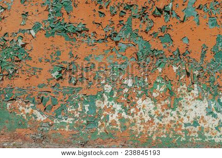 chipped paint, painted iron surface with a metal corrosion, old background with peeling and cracking paint as background or texture poster