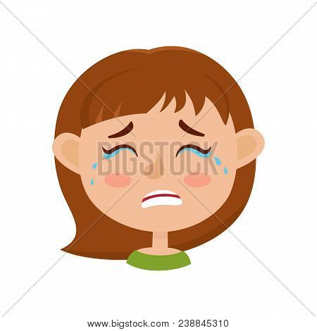 Little Girl Crying Face Expression, Cartoon Vector Illustrations Isolated On White Background. Kid E