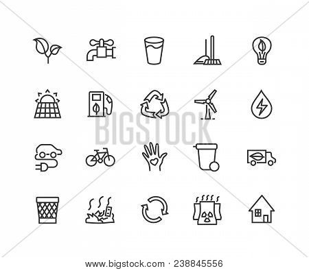 Simple Set Of Eco Energy Related Vector Line Icons. Contains Such Icons As Electric Car, Nuclear Pla