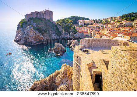 Dubrovnik Bay And Historic Walls View, Tourist Destination In Dalmatia, Croatia