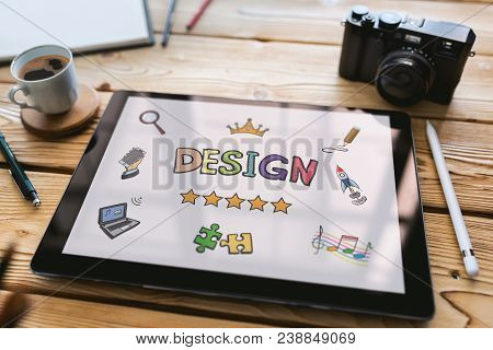 Design Concept On Digital Tablet With Various Hand Drawn Doodle Icons