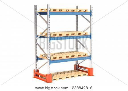 Empty Pallet Rack. 3d Rendering Isolated On White Background
