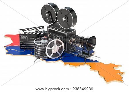 Armenian Cinematography, Film Industry Concept. 3d Rendering Isolated On White Background