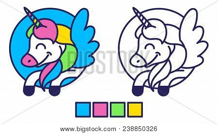 Good Simple Coloring For Kids Education And Inspiration With Happy Colorful Fantasy Unicorn Pony Peg