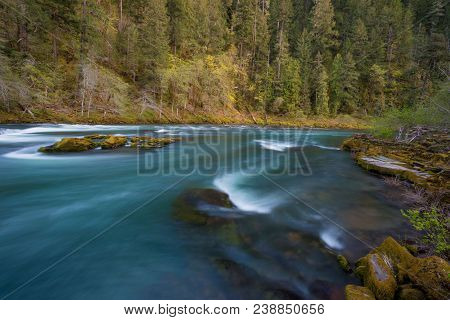 North Umpqua River Wild And Scenic Section In The Umpqua National Forest Of Oregon Near The Town Of