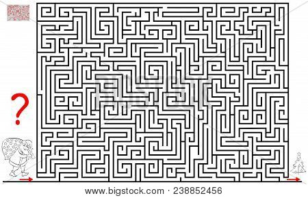 Logic Puzzle Game With Labyrinth For Children And Adults. Help The Santa Claus Find The Way Till The