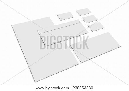 Blank Stationery And Corporate Identity Set On White Background. Template For Design Presentations.