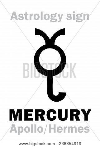 Astrology Alphabet: Mercury (stilbon/apollo-hermes), The Planetary Star (planet-homodrome). Hierogly