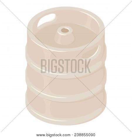 Steel Beer Barrel Icon. Isometric Of Steel Beer Barrel Vector Icon For Web Design Isolated On White